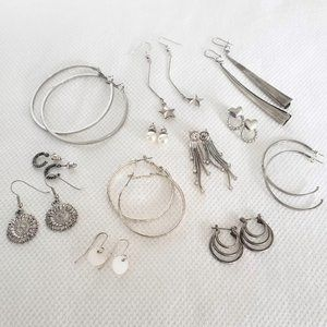 Silver & faux pearl earring lot - 12 pairs